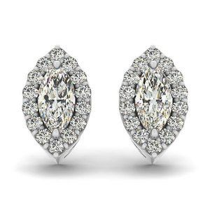 Jewelry - Marquise and round halo diamond stud earring solid